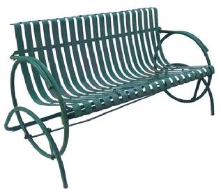 Z123 Early 20th century Settee Iron  Glider with wonderful green paint,Settee features  ribbon shaped splats -  from a private home in Oxford Pennslyvania