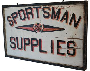 B104 Trade Sign  circa 1930's  for sportsman supplies with painted black lettering having red and yellow shadows and a central star motif, 36�x 22 1/2�x 2�;