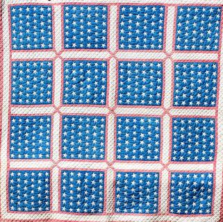 C521 Late 19th century patriotic American flags Quilt, all hand stitched, the squares each have 42 stars which are hand stitched around each star,