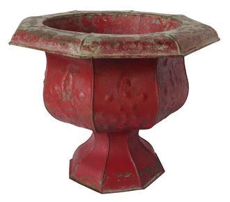 "A317 Late 19th century painted tin anneaversity style planter, with old red paint, Lancaster Pennslyvania  12"" wide x 12"" deep x 9 1/2"" tall"