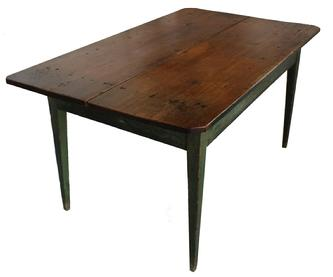 "D27 Mid 19th century North Carolina two board top Farm Table with original winds green paint, beautiful scrub top,  hepplewhite legs, mortised and pegged, the top is held in place with square head nails,  great height for setting at, Measurements are 35 1/4"" wide x 62"" long x 29"" tall"