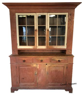 5ee00744d559 Epic 19th century Pennsylvania Perry Co. two part painted pine Dutch  Cupboard. The upper