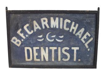"Z58 Wonderful 19th century Two Sided Sign, White Lettering on Blue, ""B.F. CARMICHAEL  DENTIST"""