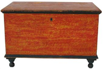 V12 Early 19th century Lancaster Pennsylvania vibrant painted Blanket Chest, signed Neil Baster, Lancaster six board chest