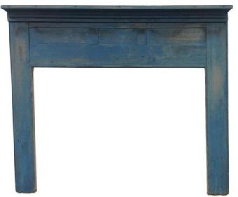 "Q21 19th century  Lehigh Valley Pennsylvania, original blue painted Mantel, with three  inset panels. Measurements are: 75 3/4"" wide x 64 3/4"" inside opening 60 3/4"" wide x 45"" tall"