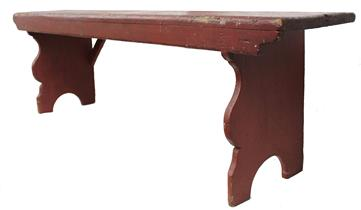 C229 LONG PENNSYLVANIA WATER BENCH WITH BEAUTIFULLY SCALLOPED LEGS, CA 1850:This classic Pennsylvania water bench has the construction and form indicative of the mid-19th century. Long and narrow, the feet are beautifully scalloped and affixed to the top by square head nails . The particularly attractive profile is complimented by a combination of old, red paint
