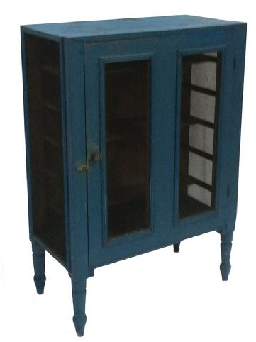 "C67  Mid 19th century Pennslyvania screen Pie safe, with origina robing egg blue paint, single door, resting on a simple turned foot, circa 1850 Measurements are:31 1/2"" wide x 16"" deep x 45"" tall"