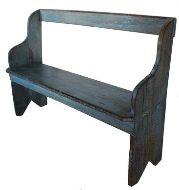"19th century Pennsylvania blue painted high back Bench, the old blue over mustard paint the seat has a double  mortised into the sides, the sides of the bench has a bootjack cut out , circa 1860 Measurements are 32 1/2"" high x 46"" wide"