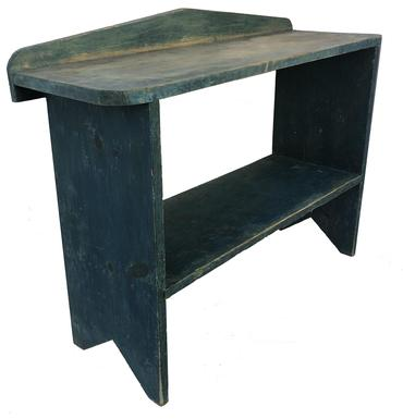 16b30384bf8c C476 Late 19th century Pennsylvania pine Bucket Bench in early apple blue  paint one board top
