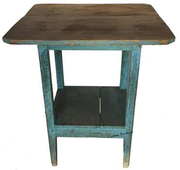 "D259  19th century Shenandoah Valley Virginia Country Work Table  in wonderful dry robin egg blue over  the original indigo blue. Tapered legs that are Mortised  and pegged construction  with a lower shelf , two board top held with square head nail all original  24"" x 24"" x 28"""