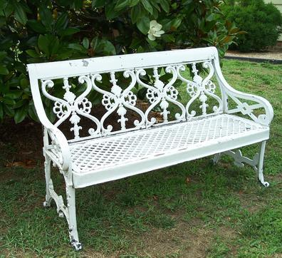 "LL151 Antique Cast Iron  lawn garden bench.  The delicate details make this Victorian garden bench full of charm. Measurements are  50"" wide x 31"" tall x 22"" deep."