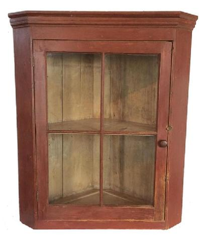 A474   19th century  Burks Co.Pennslyvania hanging Corner Cupboard, with four window lights, original red paint, with light mustard interior