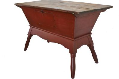 B214 Early 19th Century Dough Box On Stand Circa 1820 With Wonderful Red