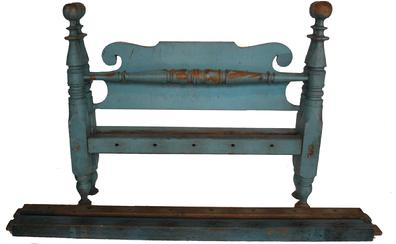 "D75 Beautiful 19th century New England Painted Country Bed. Great Turned Legs with Bold Turned ""Cannon Ball"" Finials , shaped headboard, original blue paint,"