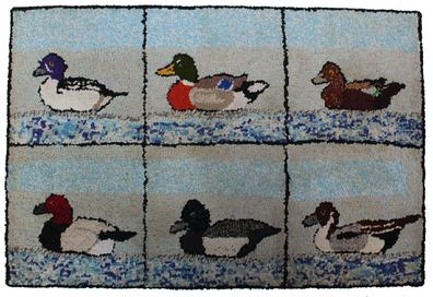 "Rm725 Early  20th century folk art hand Hooked Rug,  of six panels of Ducks on water,  professionally mounted and cleaned , there is a canvasback, mallard, blue bill, pintail, Measurements are:35 1/2"" wide x 24"" tall"