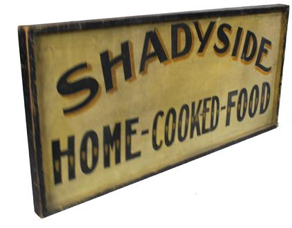"C15 Late 19th century Sign,Shade Side Home Cooked Food , two sided  with applied molding, wonderful original paint, from Indiana, circa 1880 Measurements are:  46 1/4"" long  21"" tall"