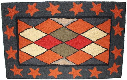 B581 late 19h century Hooked Rug a diamond century with red star boarder, on a blue background, hook on burlop very good condition