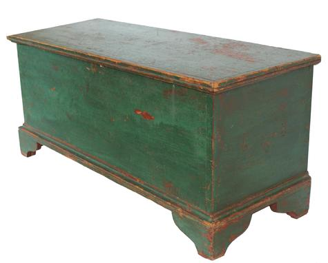 V26319th century Pennsylvania Blanket Chest with old green over the original red paint, with an applied bracket base, the case of the Blanket Chest is dovetailed , circa 1840