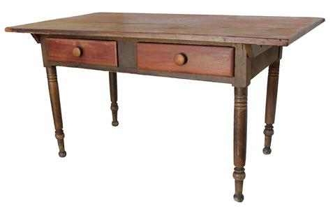 "B438 Early 19th century Pennslyvania two drawer, pin top Work Table, with mustard painted base, and red top and drawers.  The drawers are dovetailed, the top is two boards, with beautiful dry red paint, circa 1800-1820  Measurements are 34 1/4"" deep x 58"" long x 30"" tall"
