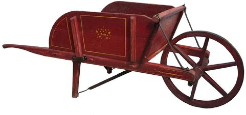 D245  1912 BUCH'S WHEELBARROW  ELIZABETHTOWN PA PENNSYLVANIA, original red painted Wheel Barrow with the original label on the front, Buch's and Son  Elizabeth Pa. wonderful dry red paint with mustard pin striping, removable sides.Excellent condition