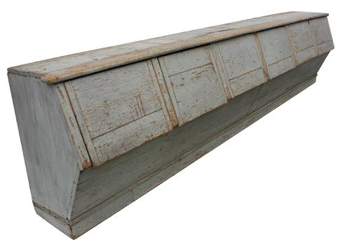 "C 366  Late 19th century  Country Storage Bin, with the original  sage green,  with six  storage bin  sections with lift lids, the wood is pine with square head nail construction.  This type of bin was used for selling merchandise in country store   circa 1870 Measurements are: 116"" long x 18 1/2"" deep x 27 1/2"" tall"