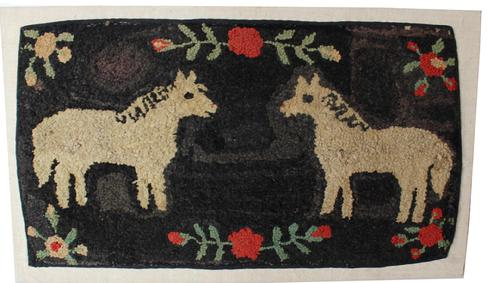 "C551  Late 19th century  Double-Horse Hooked Rug, Pennsylvania ,  it is rare and desirable to see two horses on the same rug. The standing  pose is further energized by the striated black back ground, with red and white flowers with green leaves , Professional mount on frame, Measurements are: 23"" tall x 40"" wide"