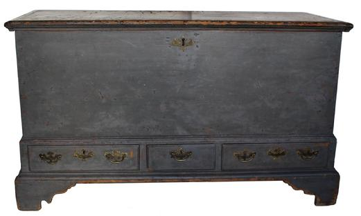 "V349 18th century  Blanket Chest , from Limeport Pennsylvania , Lancaster Co.  with early pewter gray paint over the original red paint, dovetailed case and drawers, applied bracket base with original glue blocks, peg  construction. Original hand forged strap hinges  the pewter gray paint was applied in 1852 as you can see from the dated on the back. circa 1760  measurements are: 23 1/2"""" deep x 51 1/4 "" wide x 29 "" tall"