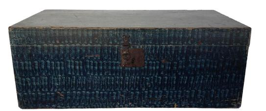 "D191 Early 19th century New England blue paint decorated Box ,the box is of 0ne board dovetail  case pit sawed construction; rectangular top over conforming case, The lid is received by competently chamfered and mitered interior moldings. viberant blue Putty-rolled paint decoration. over oyster white base, paint, full coverage decoration consisting of,  rolled techniques.The box remains in very good original condition including iron lock and steel hinges.Measurements are: 30"" wide x 16"" deep 11"""