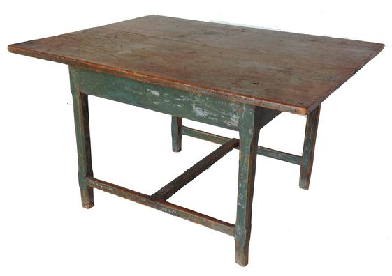 A RARE ORIGINAL BLUE-PAINTED RECTANGULAR �H� STRETCHER TAVERN TABLE.  New England, late 18TH  Century, The base has an dovetailed �H� stretcher and the square legs are lambs tongue chamfered. Wide two board top held in place with square head nails, and two dovetailed slotted batons on underside of top.  The table retains full height and original dry blue paint; measurements 44� long 33� wide 25 1/2� tall
