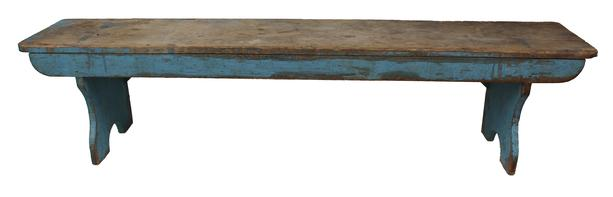 C345 Beautiful early 19th century Pennsylvania  Bench,with origina dry robin egg blue paint splayed and double mortised with shaped front, surface cleaned to the original  blue paint,circa 1800 1820  7' long