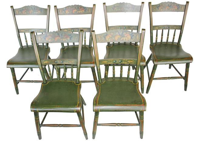 C197 Early 19th century Pennsylvania set of six matching plank bottom Chairs with decorated paint, the back ground color is green  with mustard and red  decoration, The crest of the Chairs is beautiful  in gold with flower design in the center,. circa 1830 � 1850