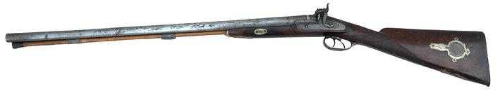 "Baltimore Maryland Dealer-Marked Double Barrel Shotgun   This is a high quality English Double Barrel 12 Gauge percussion shotgun made for Baltimore Maryland Arms Dealer ""Schaeffer & Loney"".  Made between the 1850's up to the Civil War, many of these Southern marketed shotguns ended up in the hands of Confederate soldiers...particularly cavalry."