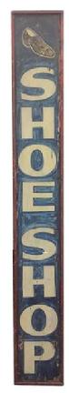 "BV1 Late 19th century wooden trade sign, Shoe Shop in the original red,white and blue paint. Applied molding, painted on one board one sided, found in Phildelphia, wonderful art work. Measurements are"" 13 1/4"" wide 98 1/2"" tall"