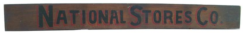 U202 Wooden Sign two sided for National Stores Company circa 1900